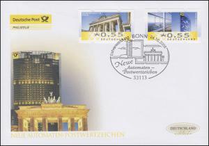 6-7 ATM-FDC Berlin/Bonn, zwei Werte auf Schmuck-FDC Deutschland exklusiv