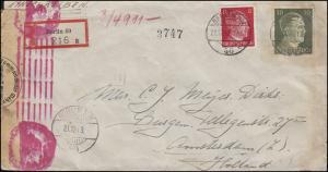 Zensur Deutsches Reich R-Brief Freimarken-MiF BERLIN 40 - 21.12.43 n. Amsterdam