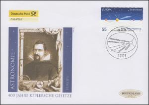 2732 Europa - Astronomie / Johannes Kepler, Schmuck-FDC Deutschland exklusiv