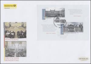 Block 76 Deutscher Bundestag und Bundesrat, Schmuck-FDC Deutschland exklusiv