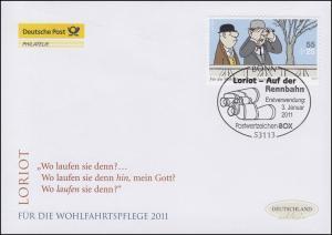 2843 Loriot Auf der Rennbahn - selbstklebend, Schmuck-FDC Deutschland exklusiv