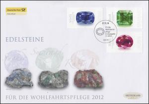 2901-2903 Wofa Edelsteine, Satz auf Schmuck-FDC Deutschland exklusiv