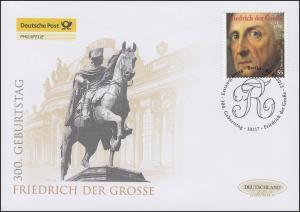 2906 Friedrich der Große, Schmuck-FDC Deutschland exklusiv