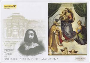 Block 79 Sixtinische Madonna, Block auf Schmuck-FDC Deutschland exklusiv