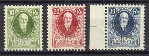 72-74 Fürst Johann II. 85. Geburtstag, 3 Werte, sauber postfrisch **