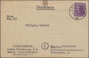 944 Pflanzer 6 Pf EF Orts-Drucksache CONCORDIA-Versicherung BERLIN 31.10.1947