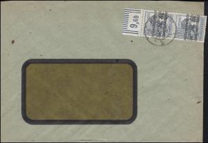 40I Band-Aufdruck senkrechtes Oberrand-Paar MeF Fensterbrief PORZ 19.8.1948