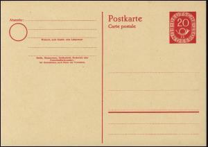 P 13 Posthorn 20 Pf ohne Druckvermerk ** wie verausgabt