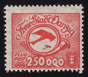 Danzig 177I Flugpostmarke mit PLF I weißer Strich unter der 3. Null, Falz *