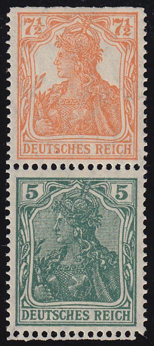 S 3 ba Germania-Zusammendruck 7 1/2 Pf und 5 Pf, postfrisch **, Befund Oechsner 0