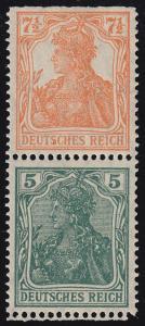 S 3 ba Germania-Zusammendruck 7 1/2 Pf und 5 Pf, postfrisch **, Befund Oechsner