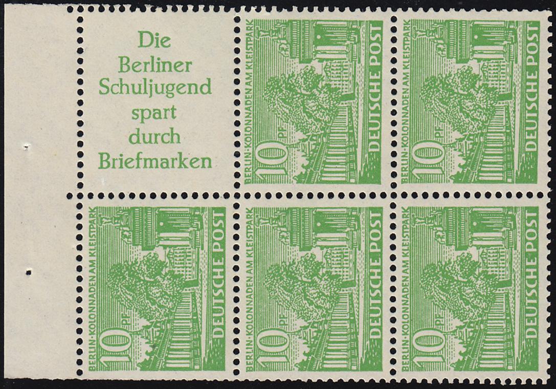HBl. 6 aus MH 2 Berliner Bauten, ungefaltet, postfrisch ** 0