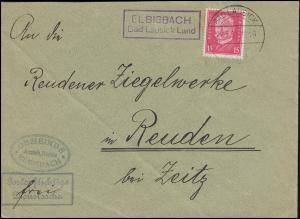 Landpost ELBISBACH BAD LAUSICK LAND 24.3.1931 auf Dienstsache nach Reuden