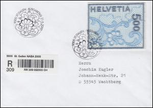 1726 Galler Stickerei auf R-FDC mit Sonder-R-Zettel NABA St. Gallen 21.6.2000