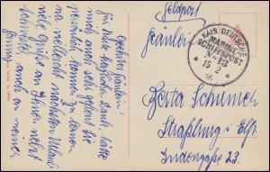 DEUTSCHE MARINE-SCHIFFSPOST No 13 - 15.2.1916 auf Feldpost-AK Mundal/Norwegen