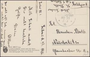DEUTSCHE MARINE-SCHIFFSPOST No 71 - 2.4.1916 auf Feldpost-Glückwunschkarte