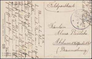 DEUTSCHE MARINE-SCHIFFSPOST No 15 - 4.5.1916 SMS Westfalen auf Feldpost-AK