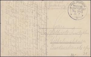 DEUTSCHE MARINE-SCHIFFSPOST No 103 - 19.7.1915 auf Feldpost-AK Frauenportrait