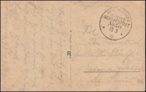 DEUTSCHE MARINE-SCHIFFSPOST No 50 - 15.2.1918 auf Feldpost-AK SMS Elsaß