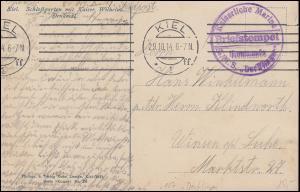 Marinefeldpost BS Kommando SMS Derfflinger, Maschinen-O KIEL 29.10.1914 AK Kiel