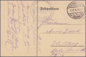 Marinefeldpost BS 2. Matrosen-Artillerie-Regiment 11.11.1915 auf Feldpostkarte
