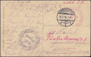 Feldpost BS Funker-Ersatz-Abt. / BS Flieger-Ersatz-Abt., SCHNEIDEMÜHL 28.7.1916