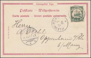 Togo 4 Kaiseryacht 5 Pf EF AK Schutzgebiet Togo Factoreien, KLEIN-POPO 17.2.1904