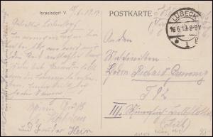 Soldatenpost an Maschinisten III. Minensuch-Halbflottille T 92,LÜBECK 16.6.1919