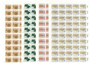 782-785 Musikinstrumente, 4 komplette 50er-Bögen, Bogen-Satz mit FN 1,2,1,1 **