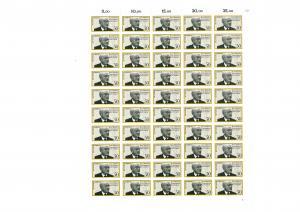 926 Jean Monnet - Ehrenbürger Europas, kompletter 50er-Bogen, Bogen mit FN 1 **