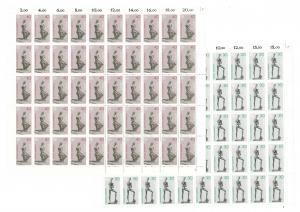 804-805 Europa - Skulpturen, komplette 50er-Bögen, Bogen-Satz mit FN 2,2 **