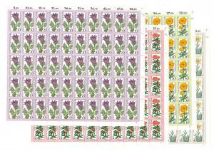 867-870 Alpenblumen, 4 komplette 50er-Bögen, Bogen-Satz mit FN 1,1,2,2 **