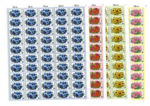 904-907 Gartenblumen, 4 komplette 50er-Bögen, Bogen-Satz mit FN 1,2,1,2, **