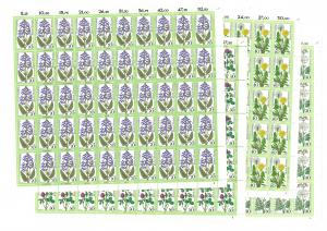 949-952 Wiesenblumen, 4 komplette 50er-Bögen, Bogen-Satz mit FN 1,1,2,2 **