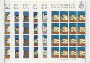 694-705 Freimarken Gebäude, 12 Werte, Kleinbogen-Satz **