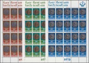 710-712 Münzen und Medaillen, 3 Werte, Kleinbogen-Satz ** postfrisch / MNH