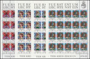 713-716 Tierkreiszeichen III, 4 Werte, Kleinbogen-Satz ** postfrisch / MNH