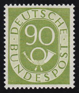 138 Posthorn 90 Pf. - perfekt gezähnt, einwandfrei postfrisch **