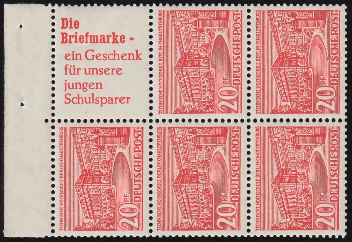 HBl. 5 aus MH 2 Berliner Bauten - mit PLF 49 XIII (TM 13), postfrisch **  0