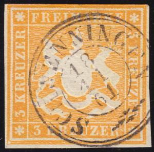 Württemberg 12 Wappen 3 Kreuzer, Doppelkreisstempel SCHWENNINGEN 18.11.61