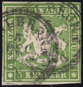 Württemberg 13 Wappen 6 Kreuzer, Doppelkreisstempel HEILBRONN 5. Oktober