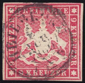 Württemberg 14 Wappen 9 Kreuzer, Doppelkreisstempel HEILBRONN August 1860