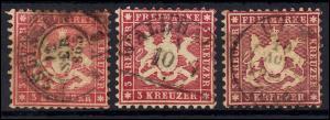 Württemberg 25 Wappen 3 Kreuzer, 3 Marken als Farben-Set, alle gestempelt