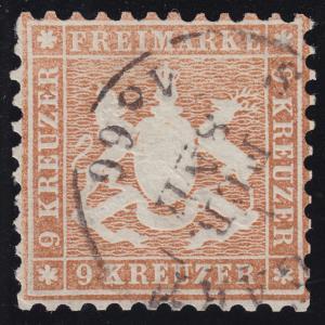 Württemberg 28 Wappen 9 Kreuzer, Zweikreisstempel STUTTGART 1.2.1866