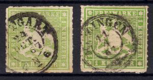 Württemberg 30 Wappen 1 Kreuzer als Farben-Set, STUTTGART bzw. MEZINGEN 1867