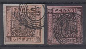 Baden 4a+b Ziffer 9 Kreuzer, Farbenpaar, je mit Fünfring-O 43 bzw. 104