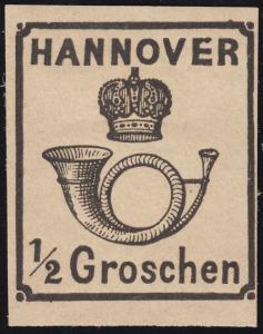 Hannover 17 Posthorn unter Krone 1/2 Groschen, Neudruck, Falzreste *