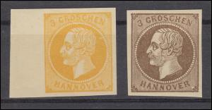 Hannover 16 ND  und 19 ND Freimarken - Neudrucke laut Michel-Spezial, beide **