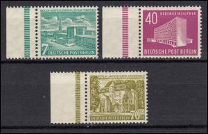 121-123 Berliner Bauten 1954, Satz postfrisch ** - linker Seitenrand