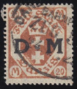 Danzig Dienst 28 Wappen, gestempelt, INFLA-geprüft, schönes echtes Bedarfsstück!